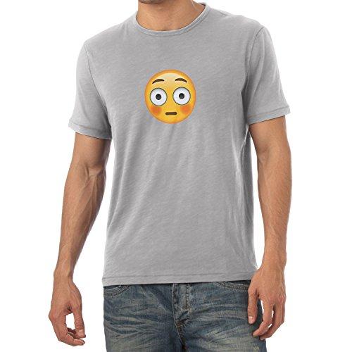 TEXLAB - Flushed Face Emoji - Herren T-Shirt Grau Meliert