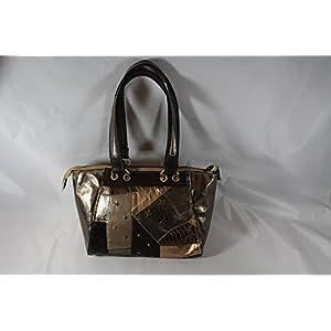 Patchwork Echtleder Handtasche mit Sternen Bronze/metallic