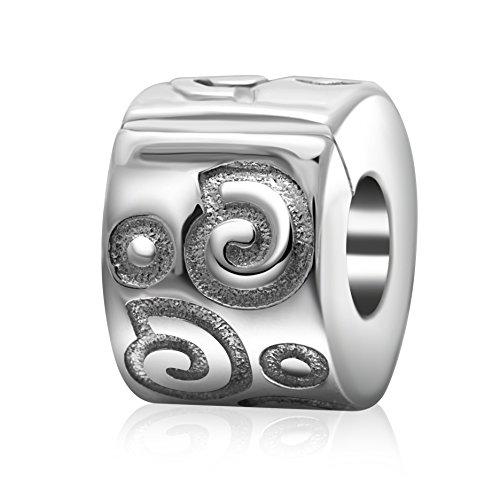 925 Sterling Silver Shiny Onde clip branello di fascino di stile di blocco Stopper (Shiny Silver Beads)