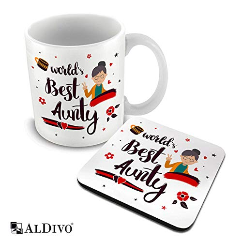 ALDIVO World Best Aunty Printed Ceramic Coffee Mug 330 ml + Coaster Combo Pack
