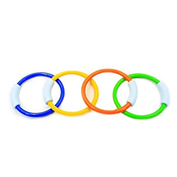 Wotow Dive Rings, 4 Piece Plastic Diving Rings Underwater Swimming Toy Rings Dive Training Gift For Boy Girl Students Recreation Play Summer Pool Toy Assorted Colors Dive Rings Kids Pool Water Game (4 Pcs) 5