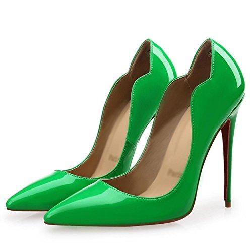 WSS chaussures à talon haut Les chaussures des femmes sont une tendance de couleur unie de la peu profonde stylet pointu talon haut Chaussures femmes Green