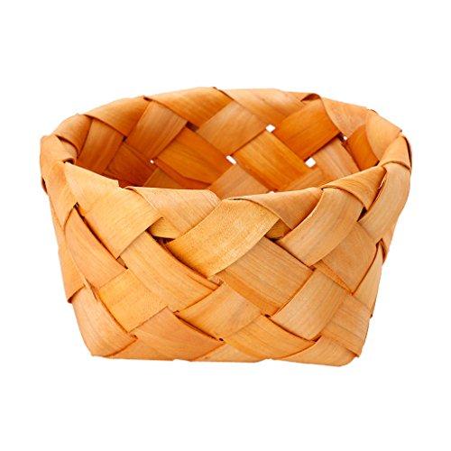 Yasheep Handgemachte Holz Gewebt Aufbewahrungskorb–Universal Haushalts-Aufbewahrung Fruit Lebensmitteln Kleinteile Picknick Organizer, rund, klein