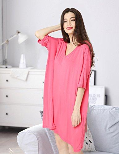 Aibrou Damen Nachthemd Nachtwäsche Negligee Nachtkleid Kurz Modal Umstandskleid Stillnachthemd Sleepshirt Rosa