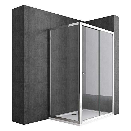 Duschabtrennung 70x140 Schiebetür Duschwand Für Eck-Montage Duschkabine aus 6mm ESG-Sicherheitsglas Seiteneinstieg Ravenna12