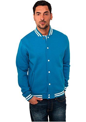 Urban Classics Herren Sweatjacke College Sweatjacket, Türkis (Turquoise 00217), Large