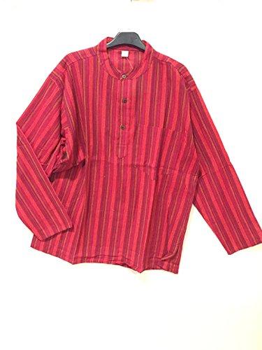 La conchiglia-camicia uomo cotone collo coreana manica lunga righe (m, rosso)
