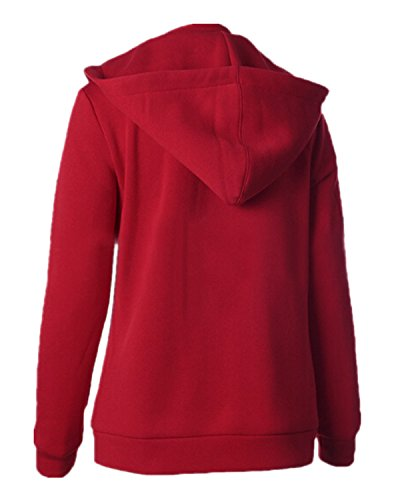 ZANZEA Femme Automne Coton Sweats à Capuche Poches Zippé Hoodie Fleece Veste Cardigan Pull Rouge