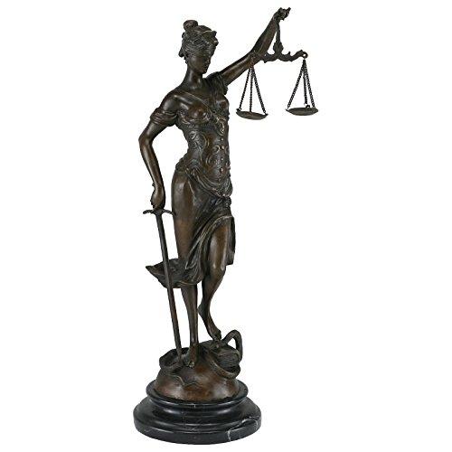 Ellas-Wohnwelt Justitia Bronze Waage Schwert Schlange Recht Bronzefigur Anwalt Richter - Ella Schlange