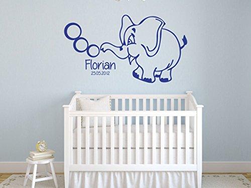 Wandtattoo-bilder® Wandtattoo Wunschtext Baby Elefant mit Wunschname Name Kinderzimmer Babyzimmer Wunschtext selber gestalten Farbe Grün, Größe 40x22