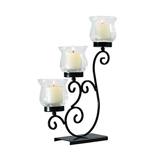 Elegan Deko Metall-Tisch stehend Kerze Säule Halter Antik Vintage Wave Style Classy Home Decor Akzente - Akzent-dekor-tisch-lampe