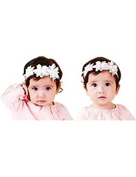 Jmitha Bambino fascia Fasce di fiore della neonata Cerchietto elastico Accessori per capelli a fiori - 2 pezzi