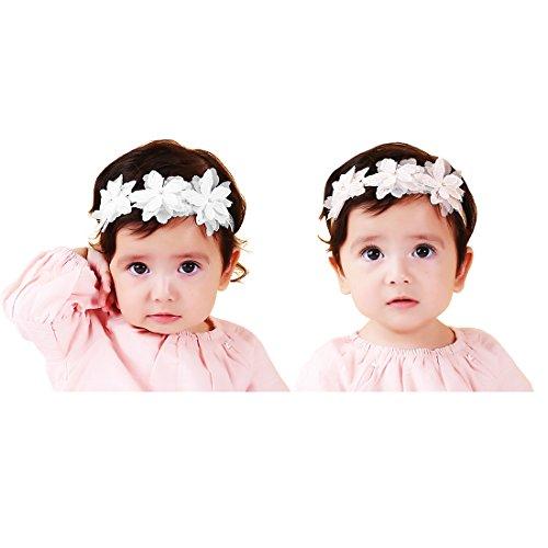 JMITHA 2 Stück Baby Stirnbänder Baby Mädchen Kids Turban Haarband Stirnband Kopfband Baby schmuck Babyschmuck Babygeschenke & Taufe (M - für 6 Monate bis 4 Jahre)