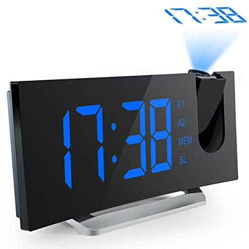 Projektionswecker, Mpow FM Radiowecker/Radiowecker mit Projektion/Uhrenradio/digitaler Wecker, Dual-Alarm mit USB-Ladeanschluss, 5\'\' große LED-Anzeige mit Dimmer, 12/24-Stunden, Datensicherung mit Batterie am Stromausfall.