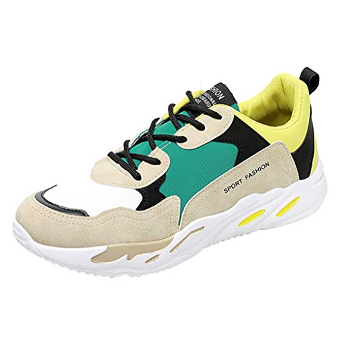 Laufschuhe für Herren/Skxinn Männer Student Sportschuhe,Turnschuhe Leichtes Straßenlaufschuhe Sneaker Atmungsaktiv rutschfest Trainer für Running Fitness Gym Outdoor 39-44 EU (Beige,44 EU)