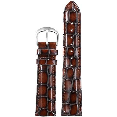 22 mm marrone braccialetti high-end per il lusso degli uomini guarda sostituzioni spallacci imbottiti alligatore pesante grana vera pelle bovina italiana