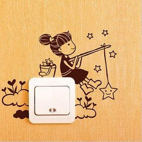 Vinilo decorativo pegatina pared, cristal, puerta (Varios colores a elegir)-chica pescando estrella