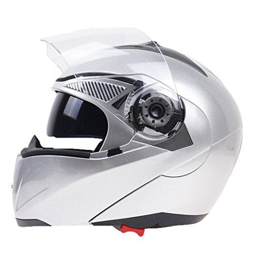 Harleeyr Professioneller Doppelter Glasmotorrad-Sturzhelm Drehen Oben Den Motorrad-Sturzhelm, der mit Innerer Schwarzer Sonnenbrille verfügbar ist Silver XL