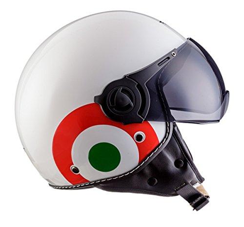 Moto Helmets H44 Italy · Retro Roller-Helm Vintage Mofa Jet-Helm Pilot Chopper Vespa-Helm Moto Helmetsrrad-Helm Scooter-Helm Biker Bobber Cruiser Helmet · ECE zertifiziert · inkl. Sonnenvisier · inkl. Stofftragetasche · Weiß · S (55-56cm) - 6