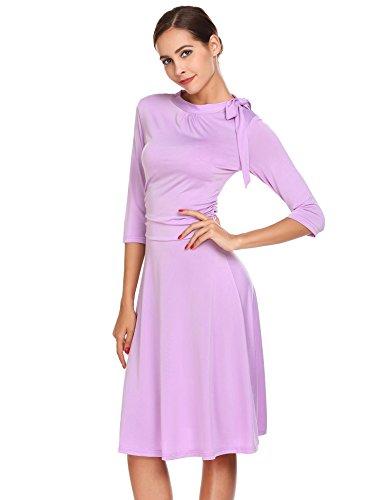 Chigant Damen Elegantes Kleid Rundhals 3/4 Ärmel A Linie Herbst Kleid Partykleider Abendkleid Businesskleid mit Schleife Violett