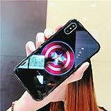 Marvel Avengers Batman Lumineux en Verre Coque pour iPhone 7866S Plus X 10Noir Spiderman Iron Man lumière de Nuit Coque arrière for iphone 7 Plus Captain