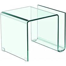 Mesita, mesa auxiliar de cristal transparente doblado con revistero de 42x38cm y 48 cm de alto