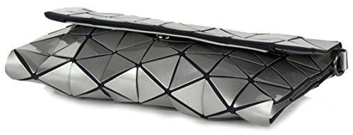 Borsa Borsa Donna Loft Clutch Look Metallico Con Tracolla (26,5 X 17 X 3 Cm) Argento