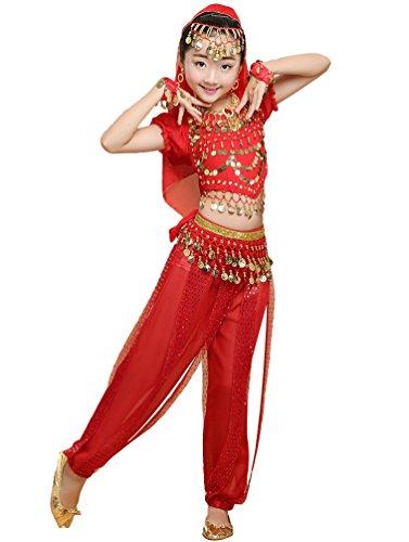 Anguang Mädchen Bauchtanz Kostüme Kinder Mode Halloween Tanz Hosenanzug Rot#3 M