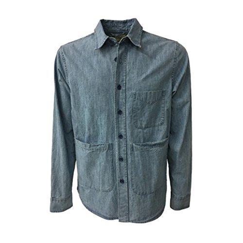 ASPESI Giacca Camicia Uomo Denim Chiaro MOD A CE84 C001 UT-Shirt 100% Cotone (L - IT 50)