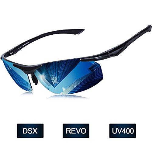 Occhiali da sole polarizzati uomo Elegear 2018 polaroid occhiali da sole in lega di alluminio Marco contro estate UVA, magnesio e TR90 REVO lente a specchio con occhiali anti-olio di uomo e la donna in bicicletta da corsa Auto Moto Mountain Ski Mtb - colore blu