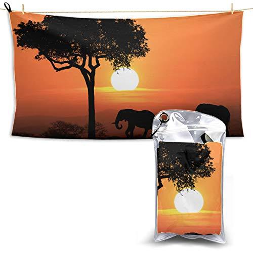 Silhouette African Elephants Sunset Sportreisetuch Duschtuch Camping Schnelltrocknendes Handtuch Kühle Strandtücher 70 * 130 cm (27,5 \'\' X 51 \'\') am besten für Gym Travel Camp Yoga Fitnes geeignet