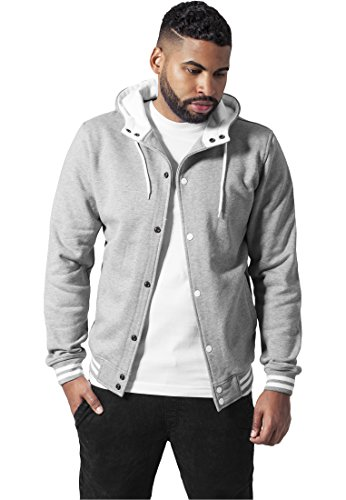 TB288 Hooded College Sweatjacket Herren Outdoor Jacke mit Kapuze, Größe:S;Farbe:gry/wht