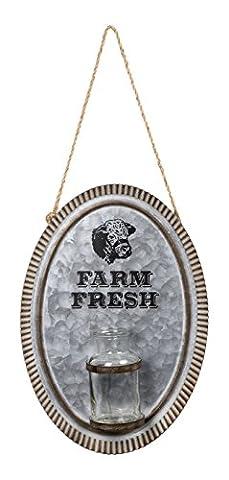 Brownlow Kitchen Farm Fresh Cow Galvanized Metal Wall Vase