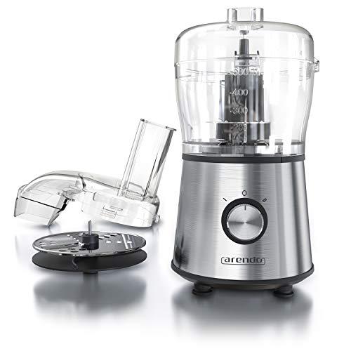 Arendo - Robot da cucina multifunzione automatico | Tritatutto | Affettaverdure | Julienne | 2 Velocitá | Lama double-face muiltifunzione + Lama tritatutto | Contenitore da 500ml in vetro | BPA free