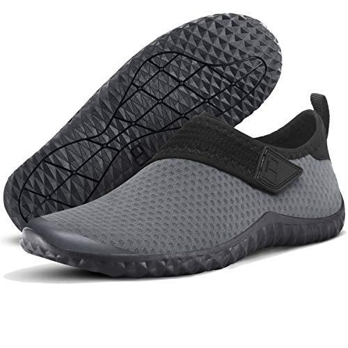 JIASUQI Herren Sportlich Wasser Schuhe Schnell Trockene Aqua Socken für Schwimmen Tauchen Surf Sport Pool Strand Grau, 45 EU