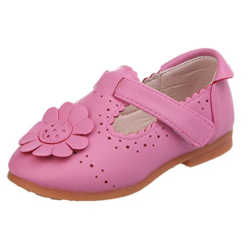 Zhhlinyuan Fashion Soft PU Leather Baby shoes Baby Flower Shoes Toddler Casual Shoes Rose Red