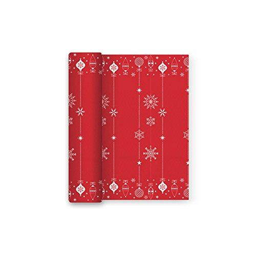 Mantel rojo Navidad papel decorado Copos Nieve - 1,2