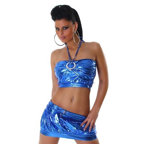 Sexy GoGo Set Rock + Top im Leder-Optik Wet-Look Einheitsgr. 32-36 Blau