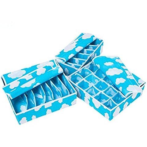 Highdas Set di 3 Organizzatori pieghevole cassetti, 20 cellulari, 7 celle, 6 Cell Biancheria intima Calze Cravatte Bra cassetto Organizzatore Storage Box, scatole di immagazzinaggio pieghevole Como 'Armadio Organizzatore di divisori per cassetti blu
