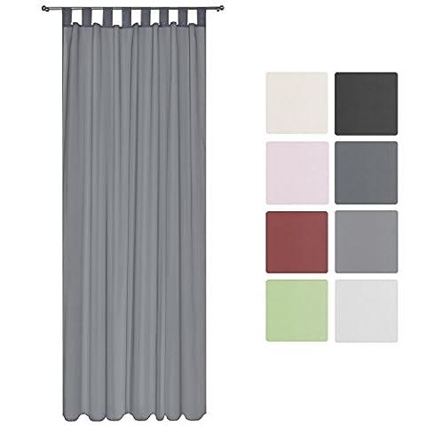 Beautissu Transparenter Schlaufen-Vorhang Amelie - 140x245cm Anthrazit (Grau) - Voile Dekoschal Gardine Schlaufenschal