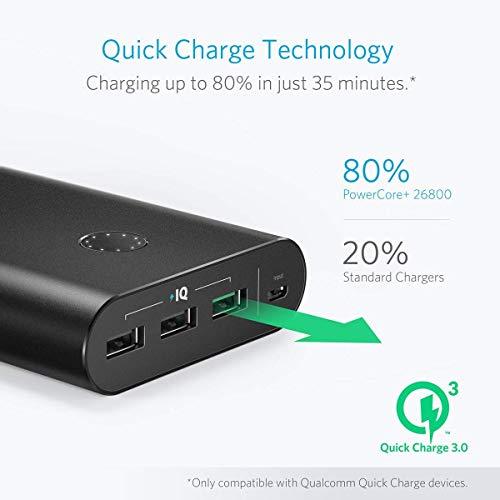 Anker PowerCore+ 26800mAh Premium Externer Akku mit Quick Charge 3.0 (Aluminium 3-Port Powerbank mit hoher Kapazität) [2x schneller wiederaufladbar] - 3