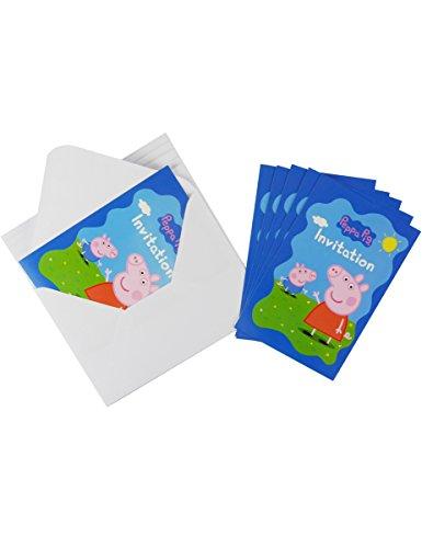 Generique - 6 Einladungskarten mit Peppa Wutz Umschlägen 10 x 15 cm