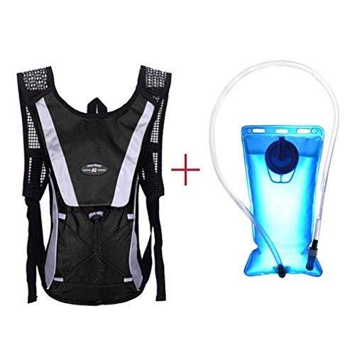 Vescica di idratazione, Lanowo 2L escursionismo vescica di idratazione Zaino pacchetto di sistema di acqua serbatoio zaino Sport e vescica di idratazione, adatto per il ciclismo, escursionismo, corsa, Camping, Passeggiare, Nero