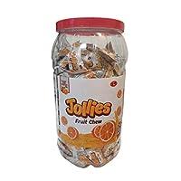Inditradition Jollies Jelly Candies | Energy Rich Natural Fruit Bar, 1 Jar (200 Candies) 740g (Orange)