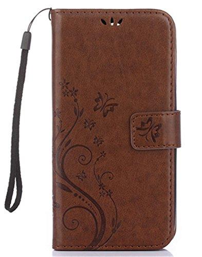Apple iPhone X Hülle, Landee Erweiterte gepresste Blumen Serie PU Leder Wallet Case Hülle für Apple iPhone X Tasche Schutzhülle Handytasche Flip Case iPhone 8-GY-Brown