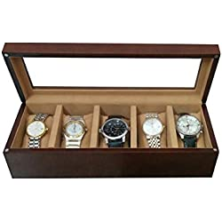 SLK Handcrafted Luxury Watch Box (Walnut, 5 Watches)
