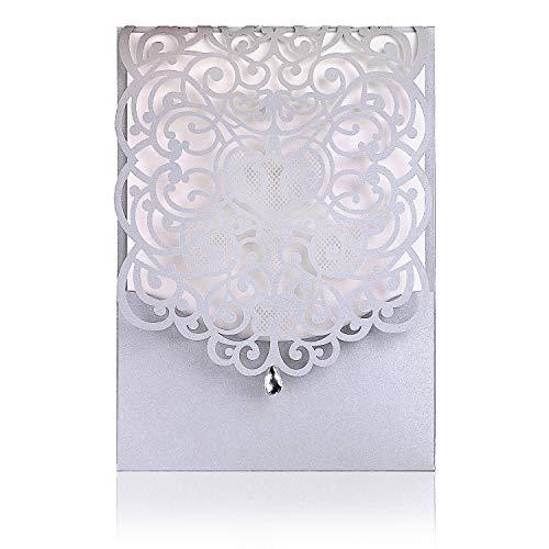 Silver Color Lacer Schnitt Hochzeit Einladungen Karten für Hochzeit Brautschmuck Dusche Einladung Baby Dusche Verlobung Geburtstag Einladung Cards (Baby-dusche Für Karten)