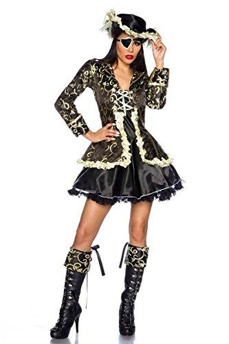 5 Teilig Kostüm Pirat - 5-teiliges Piraten-Kostüm Petticoat-Minikleid in Schwarz/Gold, Gr. S - 2XL (XL (40-42))