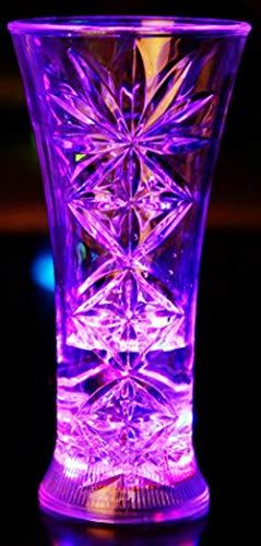 Aibote Trinkbecher mit Wasser und Flüssigkeit, Farbwechsel, LED-Lichter, blinkender Becher, Bier, Whisky, Schnapsglas, für Bar, Club, Party, Halloween, Weihnachten Snowflake