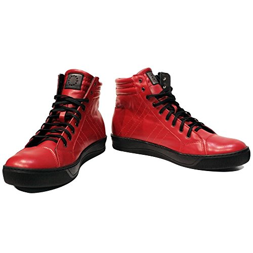 PeppeShoes Modello Redhot - 42 - Handgemachtes Italienisch Bunte Herrenschuhe Lederschuhe Herren Rot Mode Sneakers Lässige Schuhe - Rindsleder Weiches Leder - Schnüren
